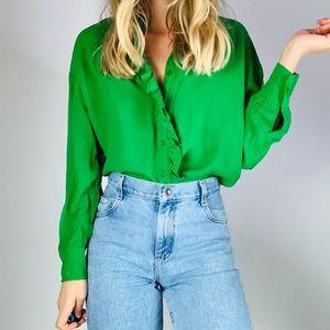 Zara green ruffle trim button down oversized shirt